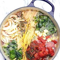 Place pasta, tomatoes, onion, and garlic in a large stock pot. Pour in vegetable broth. Sprinkle on top the pepper flakes and oregano. Drizzle top ...