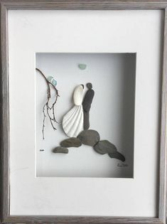 Pebble Art Wedding Couple Bride and Groom Art Modern Wall Art