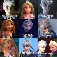 Rapunzel is begin April fools day Elsa and Jack Frost