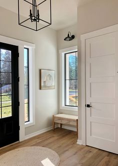 Note the white trim and the wall color- Agreeable Gray Sherwin Williams. Style At Home, Tan Paint Colors, Gray Color, Entry Paint Colors, Foyer Colors, Indoor Paint Colors, Entryway Paint, Popular Paint Colors, Bedroom Paint Colors
