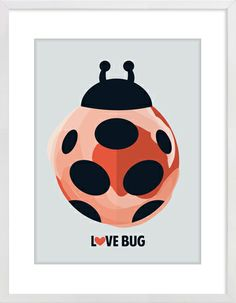Love Bug Ladybug Nursery Wall Print to brighten up your kid's room. Artwork prices start at $7.00. #nurserywallprints #ladybug #lovebug
