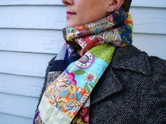 Patchwork quilted scarf