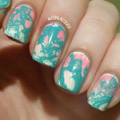 Teal waterspots over pink & white gradient nail art