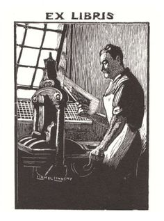 Sir Lionel Lindsay (1874-1961), Australian / bookplate design .... depicts printer at an Albion press, an early iron hand printing press