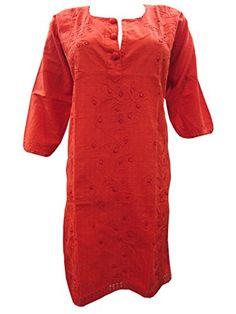 Womans Hand Embroidered Kurti Tunics Orange Red Kurta Tops Cotton Dress M Mogul Interior http://www.amazon.com/dp/B00O2XWSW4/ref=cm_sw_r_pi_dp_UO.kub0RP29H7