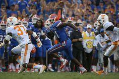 Freshman Antonio Callaway races toward the end zone against Tennessee. (Photo: Tim Casey)
