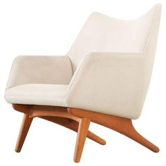 Danish Lounge Chair in Off-White Upholstery | From a unique collection of antique and modern lounge chairs at https://www.1stdibs.com/furniture/seating/lounge-chairs/