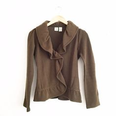 Anthropologie Olive Ruffle Felt Jacket Size small. Excellent condition with no rips or stains. First picture filtered. Anthropologie Jackets & Coats Blazers