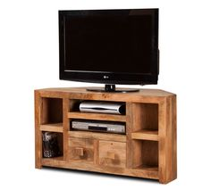 Our classic corner TV unit, now available in the natural/light finish, in our Satara Light Mango range