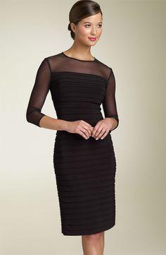 NWOT black Adrianna Papell Illusion Yoke Pleated Dress size 12P #AdriannaPapell #Clubwear