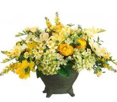 Yellow Silk Floral Centerpiece with Green Hydrangeas ARWF1188