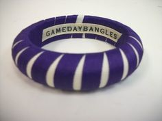 """Designer: Gameday bangles Style: Narrow Size:  3/4""""  Bangle Grosgrain ribbon Colors: Purple over white  A must have for Texas Christian University and Northwestern University athletic events!   Size Guide: Original- 3/4"""" Wide Wide- 1  1/2' Wide  2 3/4 internal diameter on both Original and Wide  $11"""