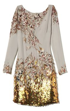 Matthew Williamson Embroidered Long Sleeve Dress  #sequin #gold