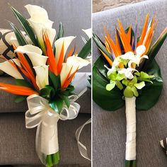 You can have a bold yet a fancy looking bouquet by mixing calla lilies with birds of paradise flowers. Together with its Matching bridesmaids bouquet Tropical Wedding Bouquets, Tropical Flower Arrangements, Lily Bouquet Wedding, Calla Lily Bouquet, Bridesmaid Bouquet, Calla Lilies, Tropical Flowers, Lilies Flowers, Cactus Flower