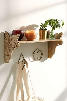 Plum & Bow Mara Carved Wood Wall Shelf