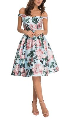 FLORAL PRINT BARDOT STYLE MIDI DRESS   Floral Print Bardot Midi, Evening, Cocktail And Party Dress Bardot Neckline Fully Lined With Padded Bust Concealed Side Zip Fastening Pleated Skirt