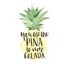 Piña Colada Love Art Print by Brush Berry Summer Instagram Captions, Instagram Quotes, Instagram Captions For Pictures, Instagram Captions Boyfriend, Beach Picture Captions, Clever Summer Captions, Friend Instagram Captions, Captions For Couple Pictures, Caption For Instagram