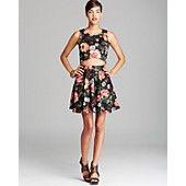 Aqua Floral Crop Top & Skirt