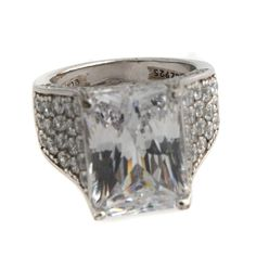 Jean Dousset Sterling Silver 8.71ct Absolute Royal Radiant Cut Cocktail Ring 5 #JeanDousset #Cocktail #hsn