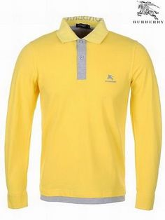 burberry brit outlet suct  Yellow Burberry Pique Cotton Long Sleeve Men Polo Shirts