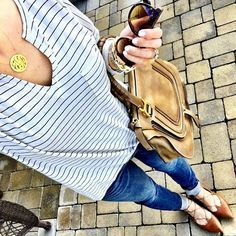 IG @mrscasual <click through to shop this look> striped tee. brown lace up flats. chloe marcie tote. monogram necklace.