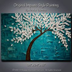 """etsy-Large 36""""x24""""x1.5"""" Original Abstract Palette Knife Painting - Teal - Turquoise - Blossom Tree - Impasto Textured on Gallery Canvas FREE S&H"""