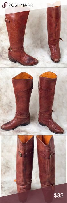 Frye Dorado Cognac Leather Riding Boots Women's size 7.   These boots are being sole as is. They're a beautiful Cognac colored knee high boot. There's a stain on the left boot that you can see in photos. Please refer to photos before purchase. As well as normal wear and tear around the sole and bottom of the shoe. Leather lined. Leather cushioned insole. Stacked wood heel with rubber tap. Leather sole. Frye Shoes Over the Knee Boots