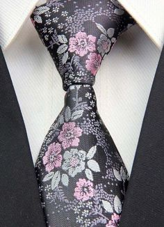 3611ae494914 Details about Mens Tie Black Silver Grey & Dusty Pink Floral Silk Paisley  513