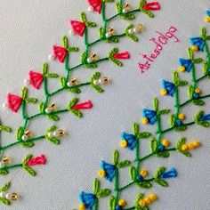 Hand Embroidery: Decorative Stitches 7 - In this tutorial I show you how to embroider . - Hand Embroidery: Decorative Stitches 7 – In this tutorial I show you how to embroider decorative - Diy Embroidery Patterns, Hand Embroidery Videos, Embroidery Stitches Tutorial, Embroidery Flowers Pattern, Creative Embroidery, Simple Embroidery, Learn Embroidery, Silk Ribbon Embroidery, Crewel Embroidery
