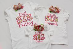 Big Sister Shirt, Middle Sister Shirt, and Little Sister Onsie with Matching Hairbows-  You CHOOSE Fabric