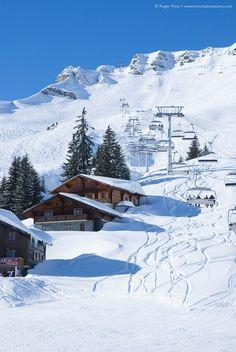 Alpine chalets beside the piste at Les Crosets (Switzerland), Portes du Soleil s. Alpine chalets beside the piste at Les Crosets (Switzerland), Portes du Soleil ski area. Great Places, Beautiful Places, Places To Travel, Places To Visit, Alpine Chalet, Zermatt, Ski Season, Winter Scenery, Swiss Alps