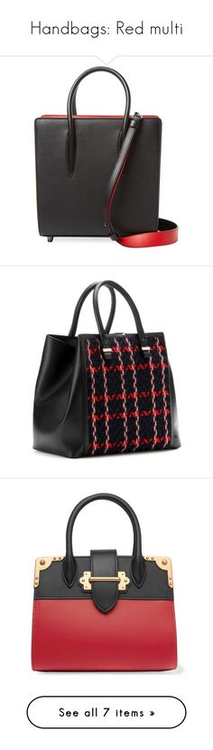 """""""Handbags: Red multi"""" by judy78 ❤ liked on Polyvore featuring bags, handbags, tote bags, black, calfskin handbags, tote handbags, handbags totes, tote bag purse, tote purses and genuine leather handbags"""