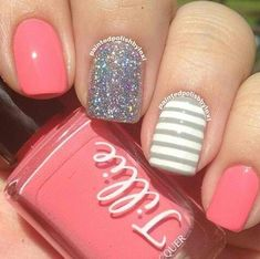 A manicure is a cosmetic elegance therapy for the finger nails and hands. A manicure could deal with just the hands, just the nails, or Fancy Nails, Love Nails, Pretty Nails, My Nails, Pink Nails, Sparkle Nails, Hello Nails, Girls Nails, White Nails