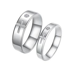 Fashion Titanium Stainless Steel Cross Couples Rings Set with