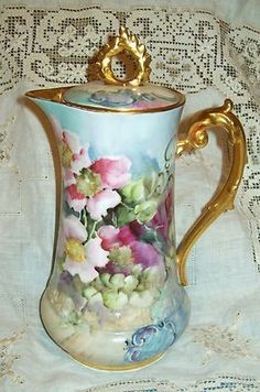 Amazing condition for 113 years old. Must have been a cabinet piece. Handpainted all over, blue/lavender shaded background with deep colorful florals. Thick gold on handle, finial and Antique Tea Sets, Tea Sets Vintage, Vintage Dishes, Vintage Coffee, Antique Dishes, Chocolate Pots, Chocolate Coffee, Tea Pot Set, Tea Cups