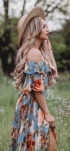 #spring #outfits Light Hat + Blue Floral Floral Off The Shoulder Maxi Dress