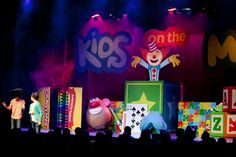 Church on the Move (Tulsa, OK) - Kids on the Move Stage - 2012 Stage Set Design, Church Stage Design, Church Building, Building For Kids, Kids Church, Church Ideas, Kids Stage, Church Backgrounds, Dance Themes