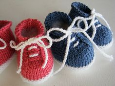 Tiny Tennis Shoes by Janet Tamargo. These booties are worked from the sole up in one piece.