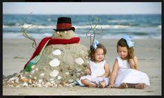 Fun Christmas card, instead of snowman, sandman! So adorable