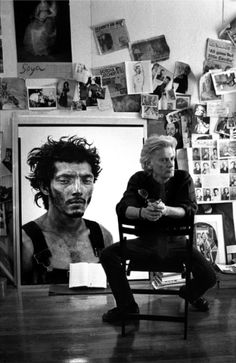 """Richard Avedon in His Studio, New York City     1994.   """"A portrait is not a likeness. The moment an emotion or fact is transformed into a photograph it is no longer a fact but an opinion …. All photographs are accurate. None of them is the truth.""""  Richard Alvedon, 1984.  John Loengard"""