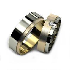 Two Tone 10k White-yellow Gold Satin Flat Couples Wedding Bands 0.05 Carat Round Diamond 4mm, 6mm 02190