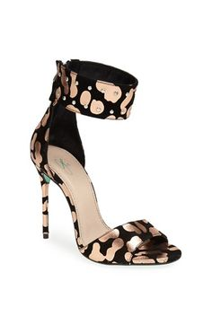 Metallic leopard print cuff sandals
