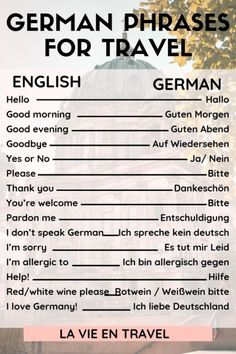 Germany Travel - German Phrases with Pronunciation - Germany vacation - Germany itinerary - Berlin - Munich - Learn these 25 German words and phrases for your Germany trip to ask for directions, order at restaurants, and more! Visit Germany, Munich Germany, Germany Travel, German Grammar, German Words, Holidays Germany, Germany Language, German Language Learning, Spanish Language