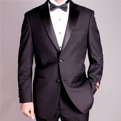 Make your appearance at black tie events with this two-button tuxedo jacket and pants. The tuxedo suit features single-breasted construction and satin accents for classic formal wear you can wear to w Mens Tailored Suits, Mens Tuxedo Suits, Slim Fit Suits, Tuxedo For Men, Tuxedo Jacket, Suit Jacket, Mens Dinner Suits, Mens Dinner Jacket, Dinner Jackets
