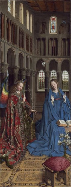 Jan van Eyck (Netherlands, 1390-1441) ~ The Annunciation ~ ca. 1434-1436 ~ National Gallery of Art, Washington D.C. ~ Jan van Eyck was an Early Netherlandish painter active in Bruges and one of the most significant Northern Renaissance artists of the 15th century ~ The picture depicts the Annunciation by the Archangel Gabriel to the Virgin Mary that she will bear the son of God (Luke 1:26-38). As in other paintings, Mary is engaged in serious study.