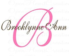 Elegant Shabby Chic Initial and Name Vinyl Wall Decal