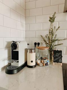 Coffee Bar Station, Coffee Station Kitchen, Coffee Bars In Kitchen, Coffee Bar Home, Home Coffee Stations, Loft Kitchen, Apartment Kitchen, Kitchen Interior, Kitchen Decor