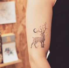 Tree-themed deer tattoo by Grain