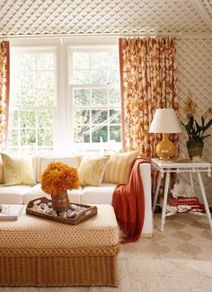 Living Rooms   Yellow Orange Drapes White Slipcover Sofa Orange Throw  Yellow Pillows Mustard Yellow Gourd. Orange Curtains:: Monochromatic Room  ...