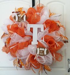 deco mesh wreaths   My Business - Deco Mesh Wreaths, the fact that this is a Vols wreath makes me think of my wifey Junie. ;)